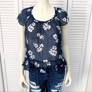 Hollister Blue Floral Hibiscus Print Sheer Top M